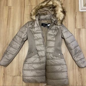 NWT Faux Fur Hooded Puffer Jacket